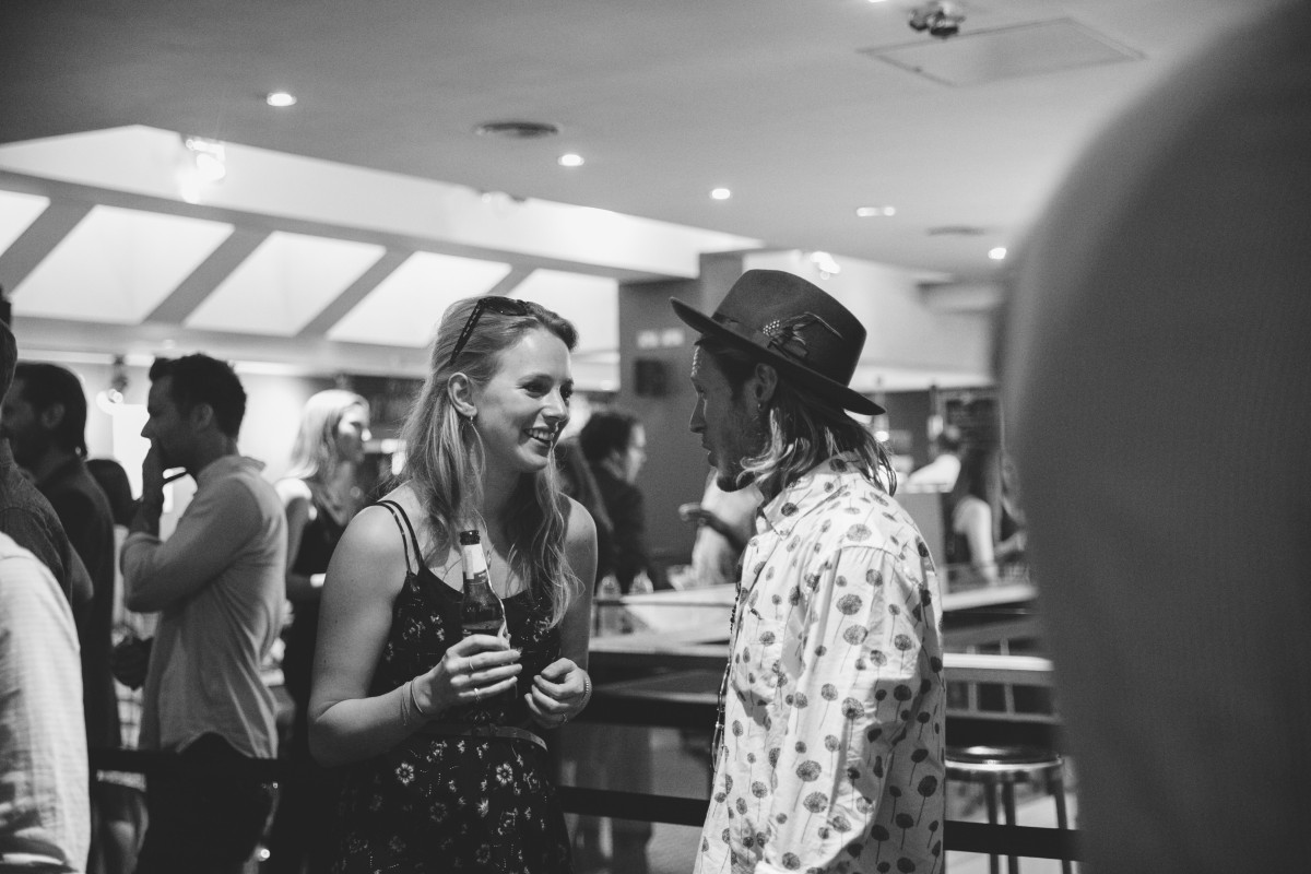 Friends Georgie Kelly and bassist Dougie Poynter enjoy a drink