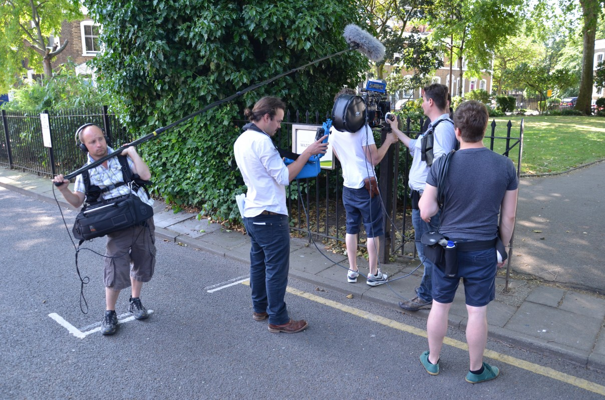 Day 16 - street crew. On the left, Simon Hornett (sound)